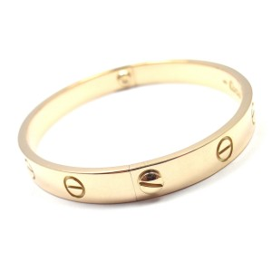 Cartier Love 18K Yellow Gold Bangle Bracelet Size 17