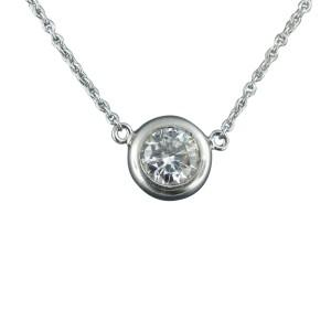 Platinum Diamond Solitaire Pendant Neklace