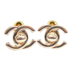 Chanel Vintage F Large Gold Tone Clip On Double C Signature Lock Earrings