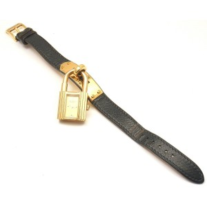Hermes Kelly Black Epsom Leather Gold Hardware Watch,1996