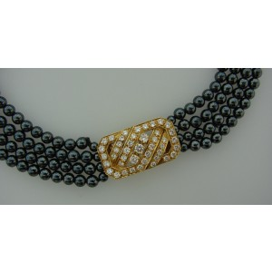 Van Cleef Arpels Vca Hematite Bead Diamond Yellow Gold Necklace Bracelet