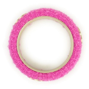 Chanel Gold Tone Metal Coco Mark Tweed Pink Bracelet Bangle