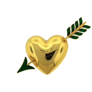 Van Cleef & Arpels Enamel and 18k Yellow Gold Heart and Arrow Pin Brooch