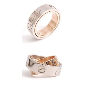 Cartier 750 White & Rose Gold Secret Love Ring Size 3.0