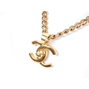 Chanel CC Logo Gold Tone Metal Turn Lock Chain Pendant Necklace