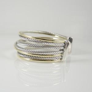 David Yurman Sterling Silver & 18K Yellow Gold 4-Row Crossover Bracelet