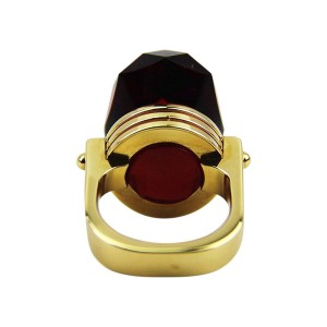 Baccarat Sterling Silver Oval Ruby Bouchons De Carafe Vermeil Ring Size 6.5