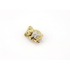 14K Yellow Gold Diamond & Emerald Koala Pin/Brooch