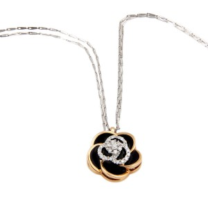 Roberto Coin 18K White Gold Diamond & Enamel Rose Flower Pendant Necklace