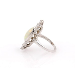 14K White Gold Oval Cabochon Fire Opal & Diamond Cocktail Ring