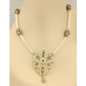 18K Rose Gold 8.5ct Emerald & Seed Pearls Mughal Necklace