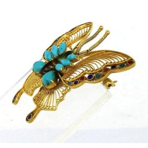 18K Yellow Gold Turquoise Butterfly Pin Brooch