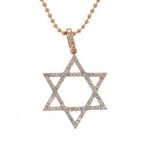 14K Rose Gold 1.35 Ct Diamond Star Of David Pendant Necklace