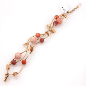 Faro Italy 14K Rose Gold Coral Beaded Triple Strand Bracelet
