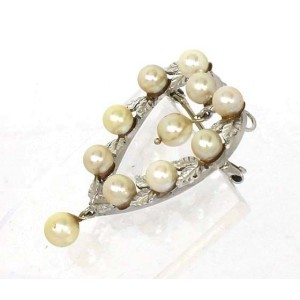 14K White Gold Leaves & Pearls Heart Shaped Pin Brooch