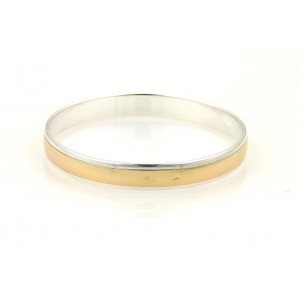 Hermes 925 Sterling Silver & 18K Yellow Gold Signature H Bangle