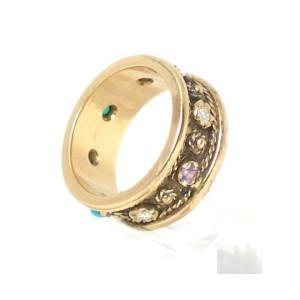 14K Yellow Gold With Diamonds & Gemstones Wedding Band Ring Size 7.75