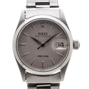 Rolex Oysterdate Precision 6466 Automatic Midsize Silver Dial Unisex 30mm Watch