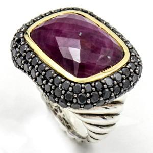 David Yurman 925 Sterling Silver & 18K Yellow Gold Waverly Ruby Ring Black Diamonds Size 6
