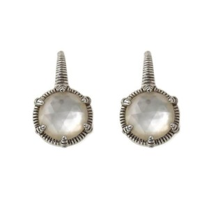 Judith Ripka 18K White Gold and Sterling Silver Mother of Pearl Lever Hook Dangle Earrings