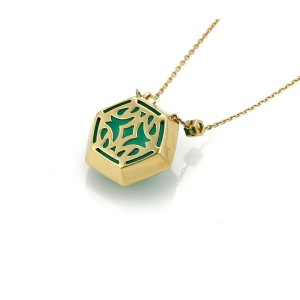 Stephen Webster Deco 18K Yellow Gold 0.07 Ct Diamond and Chrysophase Octagon Pendant Necklace