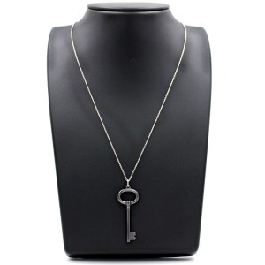 Tiffany & Co. 925 Sterling Silver & Titanium Oval Key Pendant Chain Necklace