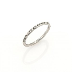 Roberto Coin 18K White Gold & Diamond Half Circle Wedding Band Ring Size 6.5
