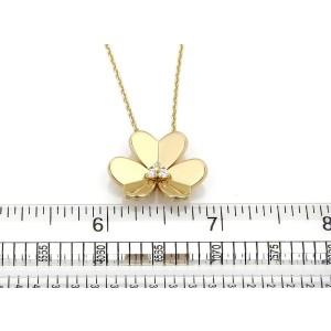 Van Cleef & Arpels Frivole 18K Yellow Gold & 0.16ct. Diamond Flower Pendant Necklace
