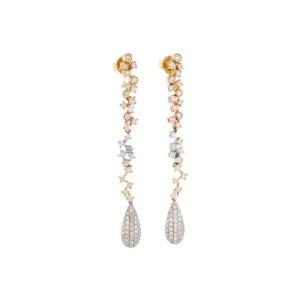 TRI COLOR DIAMOND DROP EARRINGS