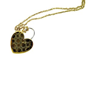 Roberto Coin 18K Yellow Gold Tiger Eye & Diamond Heart Lock Necklace