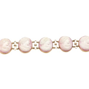 14K Yellow Gold & Pink Shell Cameo Link Bracelet