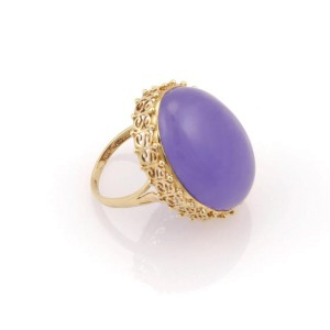 14K Yellow Gold Lavender Jade Solitaire Ring