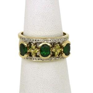 SNB Signed 14K Yellow Gold Tsavorite Yellow Sapphires & Diamonds Band Ring