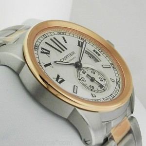Cartier Auto Calibre de W7100036 Steel & Gold Silver Dial Mens Watch