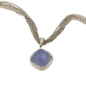 Rina Limor 18K White Gold Diamond Chalcedony Pendant Necklace