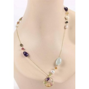 Tous 18K Yellow Gold Multi Gemstones & Pearls Necklace