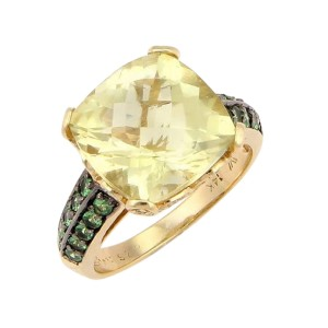 LeVian 14K Yellow Gold Citrine Tsavorite & Diamond Cocktail Ring