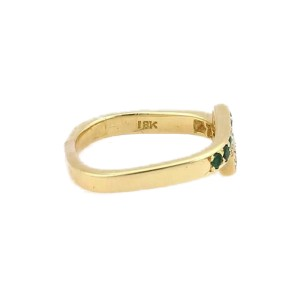 Cartier 18K Yellow Gold Diamond & Emerald Wrap Style Ring