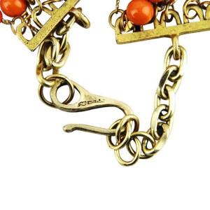 Coral 7 Rows Swarovski Spacers Gold Necklace