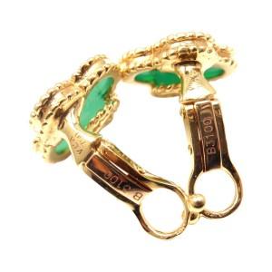 Van Cleef & Arpels 18K Gold Vintage Alhambra Green Agate Earrings