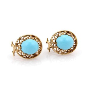 Vintage 14K Yellow Gold & Turquoise Earrings