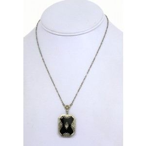 Art Deco 14K W-Gold Diamond & Onyx Ladies Pendant