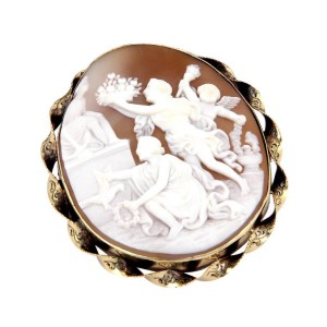 14K Yellow Gold Large Shell Cameo Carved Greek Figures Pin/brooch