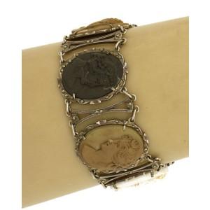 Sterling Silver Marcasite Hand-carved Lava Cameos Bracelet
