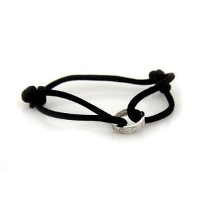 Cartier Charity Love Ring Charm 18K White Gold & Black Silk Cord Bracelet