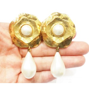 Chanel Vintage 18K Gold Plated Faux Pearl Camellia Flower Dangle Clip on Earrings