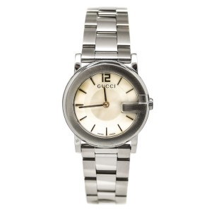 Gucci 101L All Stainless Steel Silver Dial Round Bezel Quartz Womens Watch