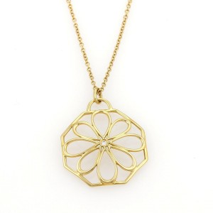 Tiffany & Co. Diamond 18k Yellow Gold Daisy Pendant & Chain Necklace