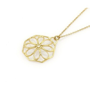 Tiffany & Co. Diamond 18k Yellow Gold Daisy Pendant & Chain Necklace