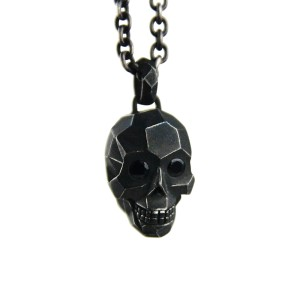 John Hardy Sterling Silver Black Sapphire Eyes Skull Necklace
